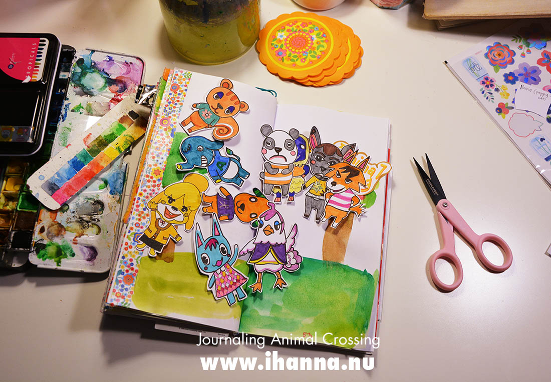 Animal crossing characters drawn by iHanna for a Journal with me session - Copyright Hanna Andersson