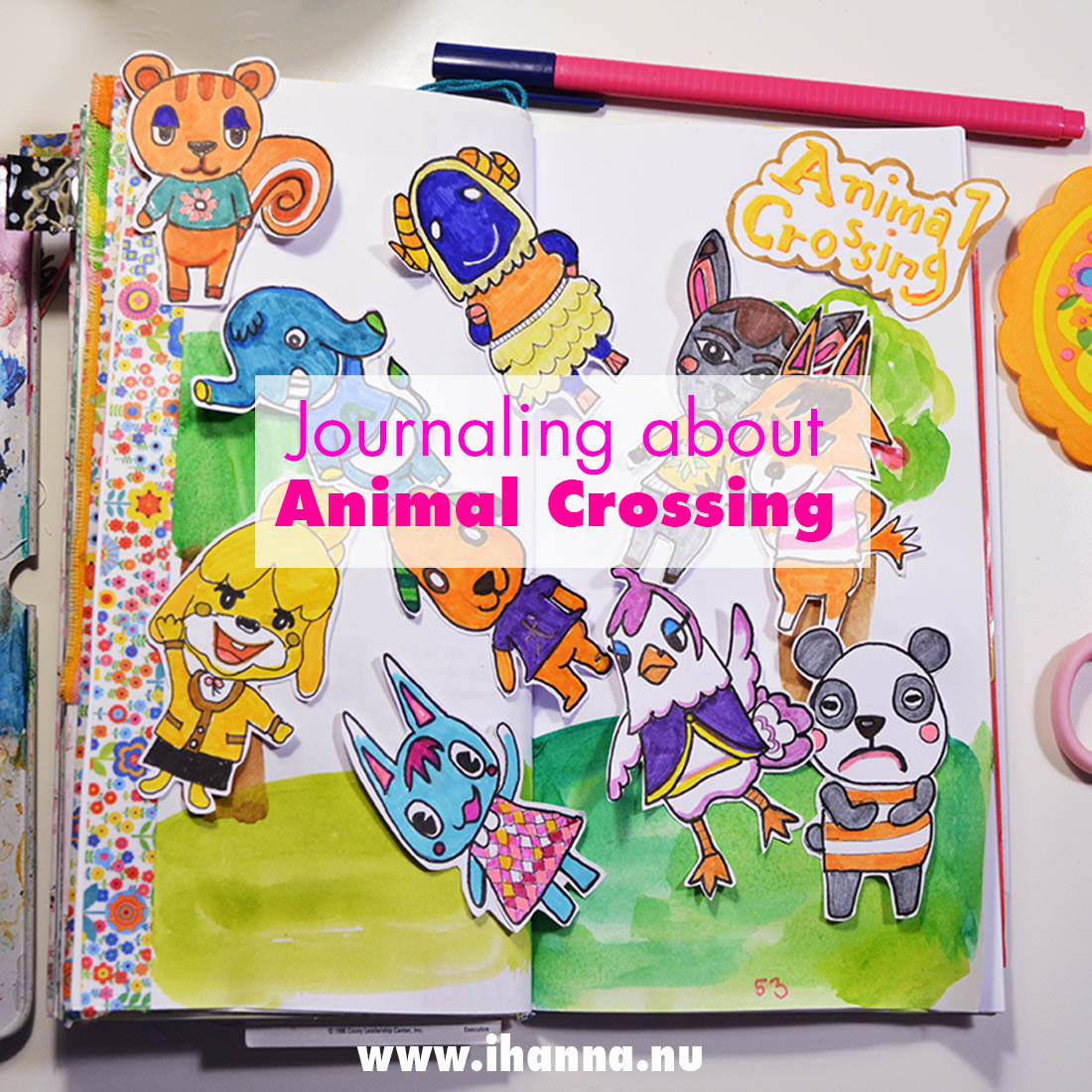 Journal with me: Documenting Animal Crossing in my Traveler's Notebook