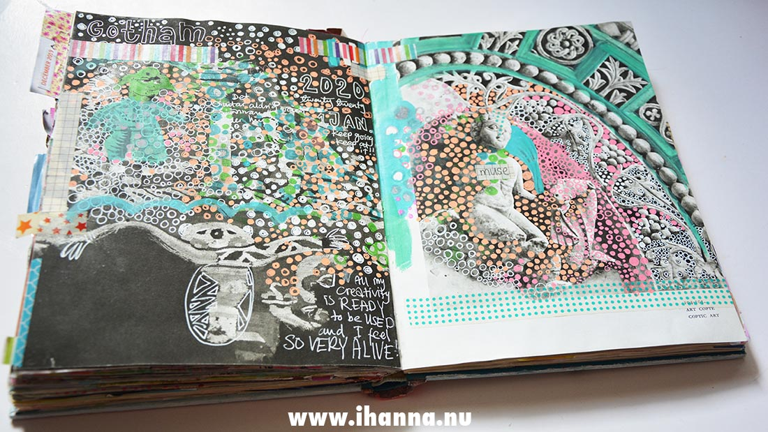 Art journal doodle in altered book by artist Hanna Andersson, aka iHanna