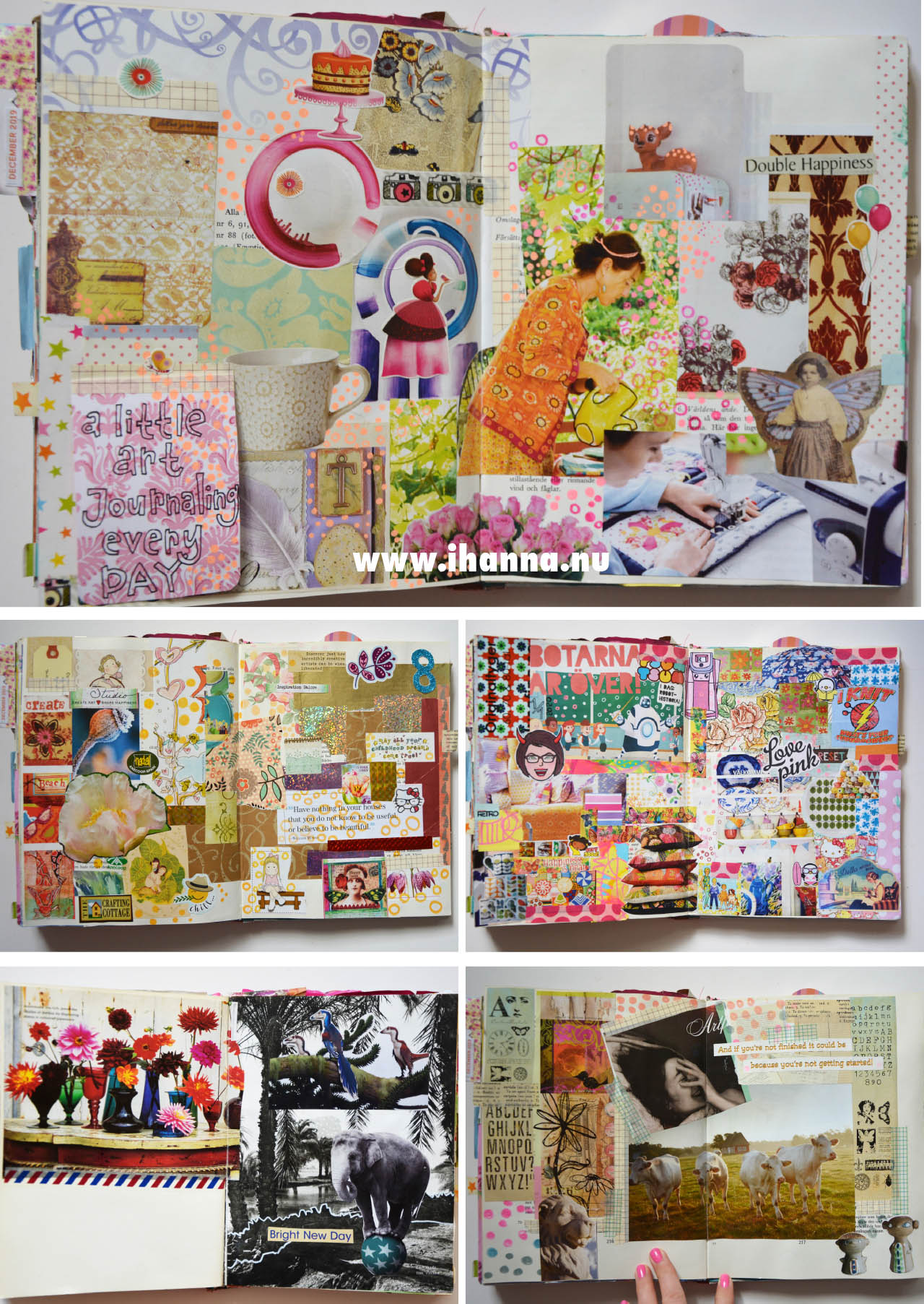 More of the many collage pages in iHanna's Art Jouranl see flip-through on the site www.ihanna.nu