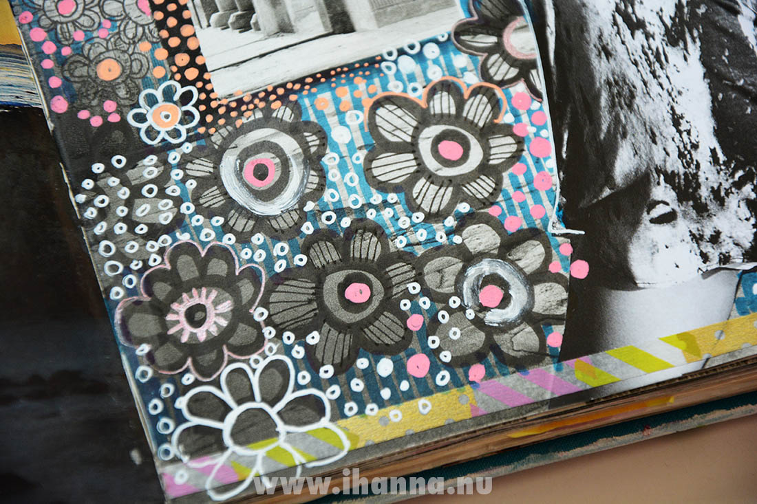 Flower doodles in altered book on photo by Swedish artist Hanna Andersson aka iHanna