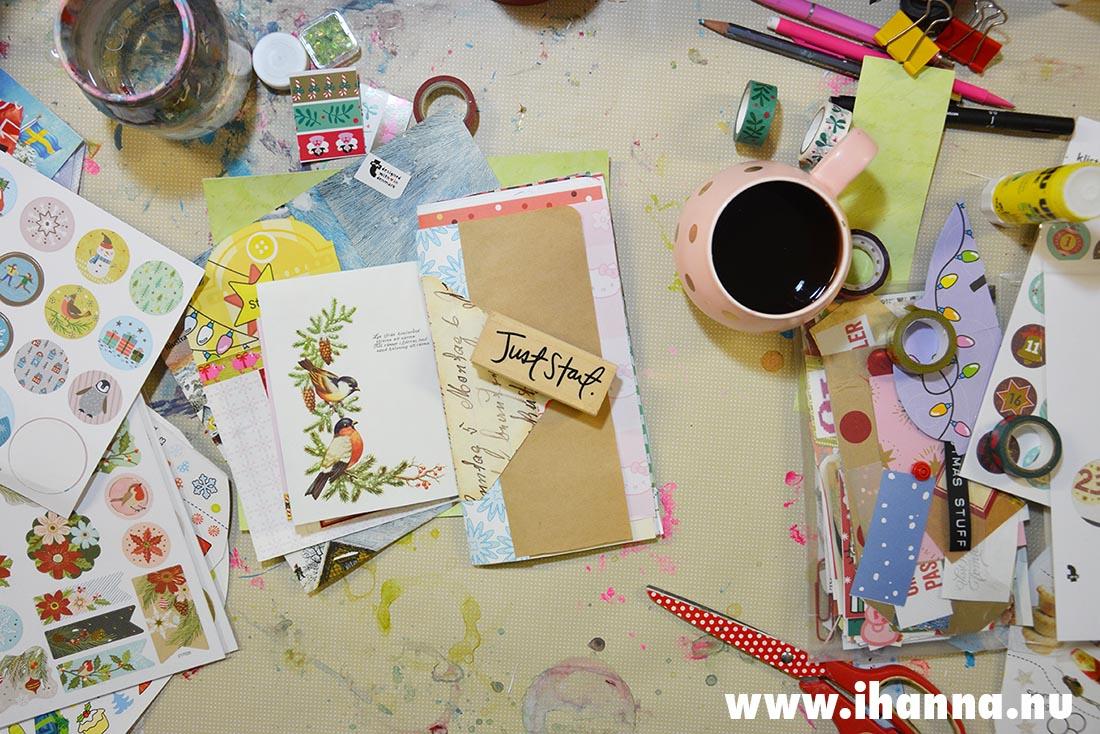 Just Start stamp on iHanna's messy desk