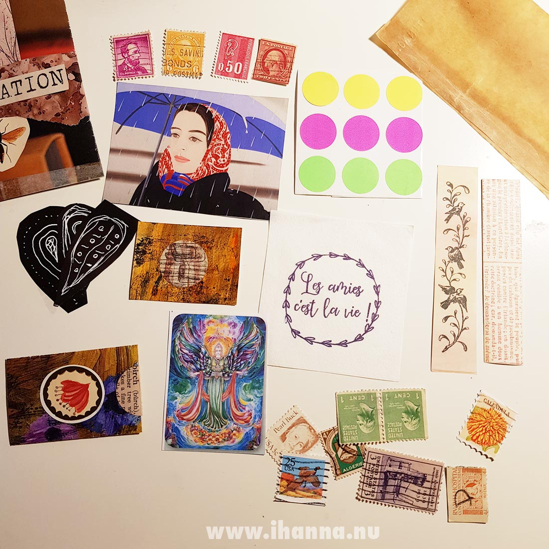 Happy mail with lots of collage fodder and stamps from Franca Maria to iHanna
