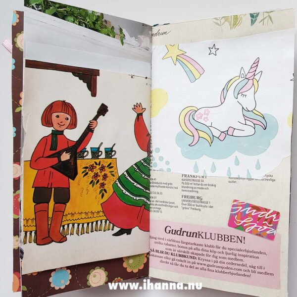 Example of a spread in Junk Journal no 05 for sale in iHanna's Shop