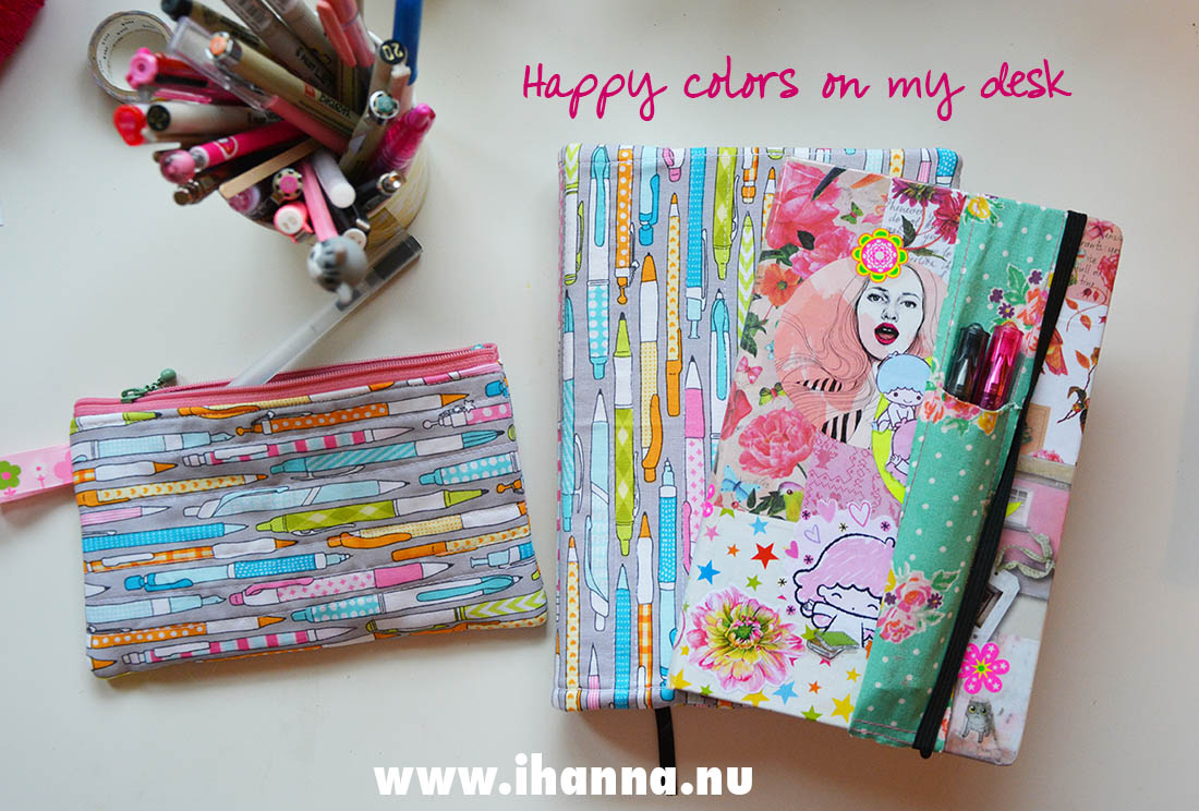 Pencil fabric book cover, diary and pencil case on my desk makes me happy - photo copyright Hanna Andersson