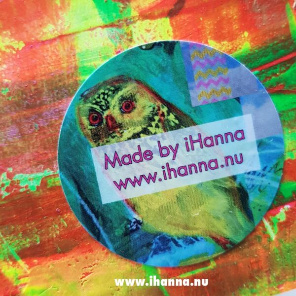 iHanna sticker on the back of the Little notebook with hand-painted cove