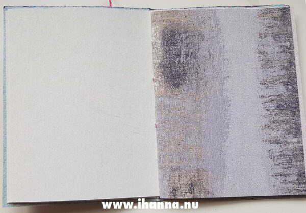 Spread in the Purple power notebook with hand-marbled cover