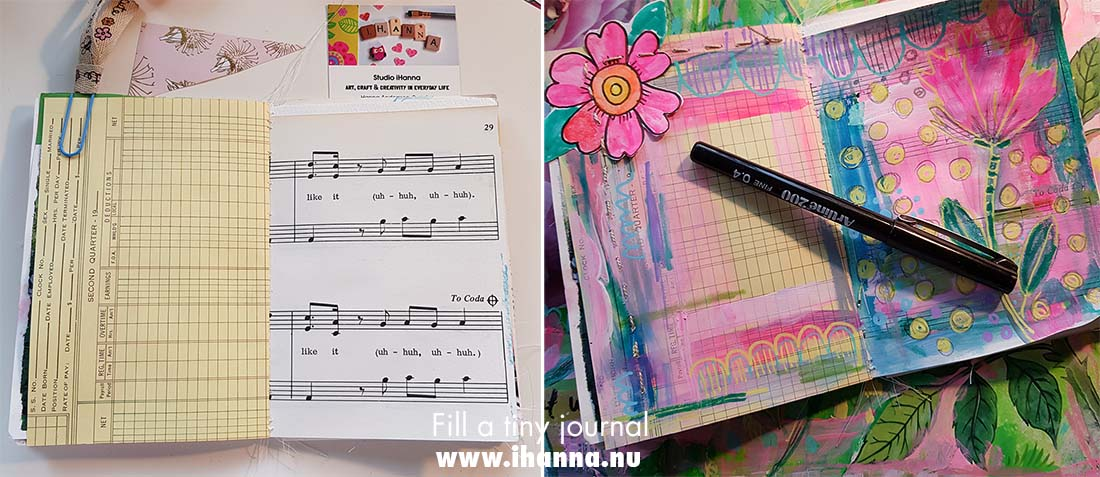 Fill a tiny journal before and after painting and sewing by iHanna