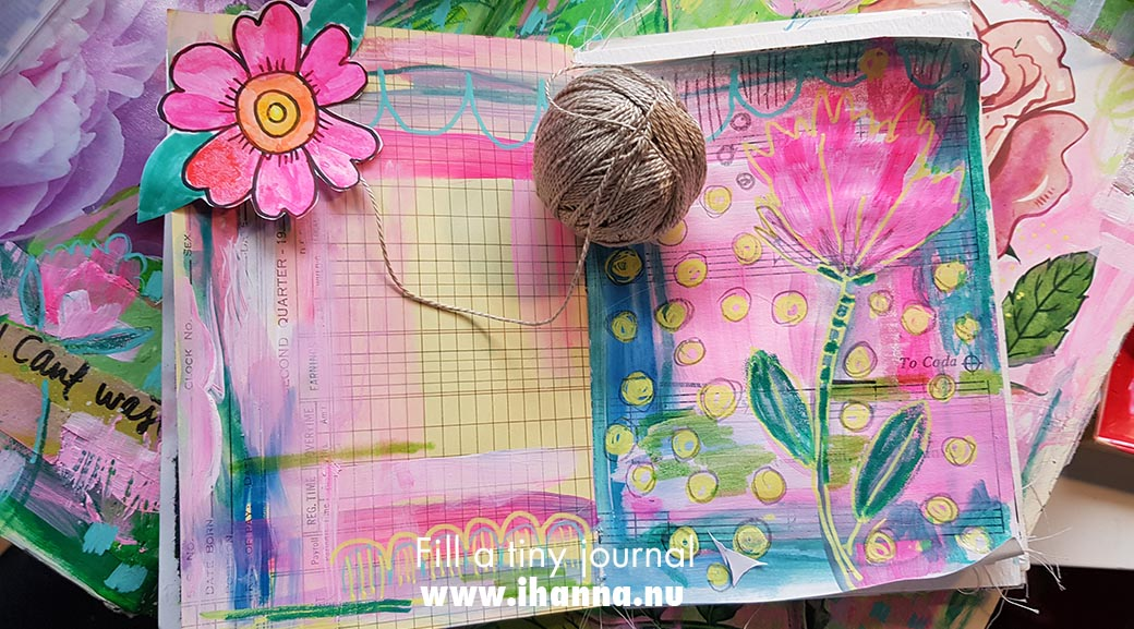 Painted page for Fill a tiny journal with a list / listwriting #fillatinyjournal