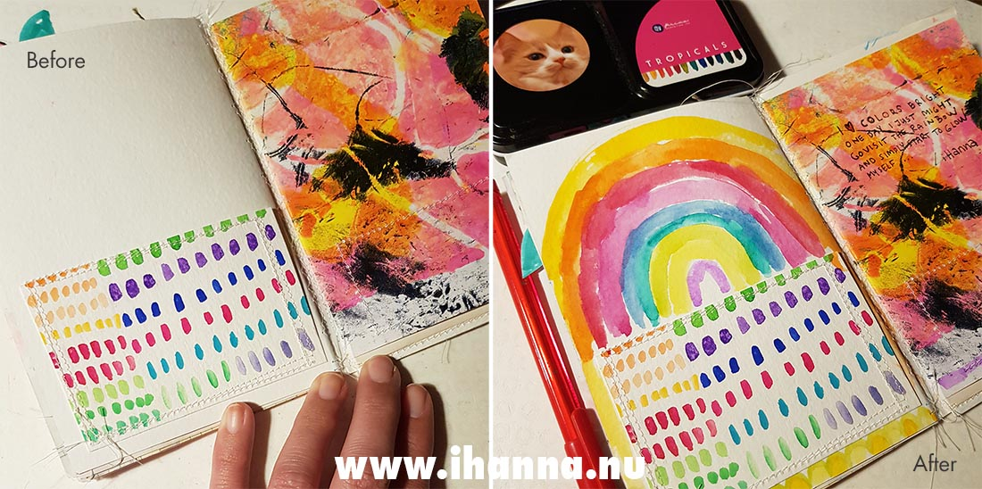 Before and after - Fill a tiny journal with a list / colorful prompt #fillatinyjournal