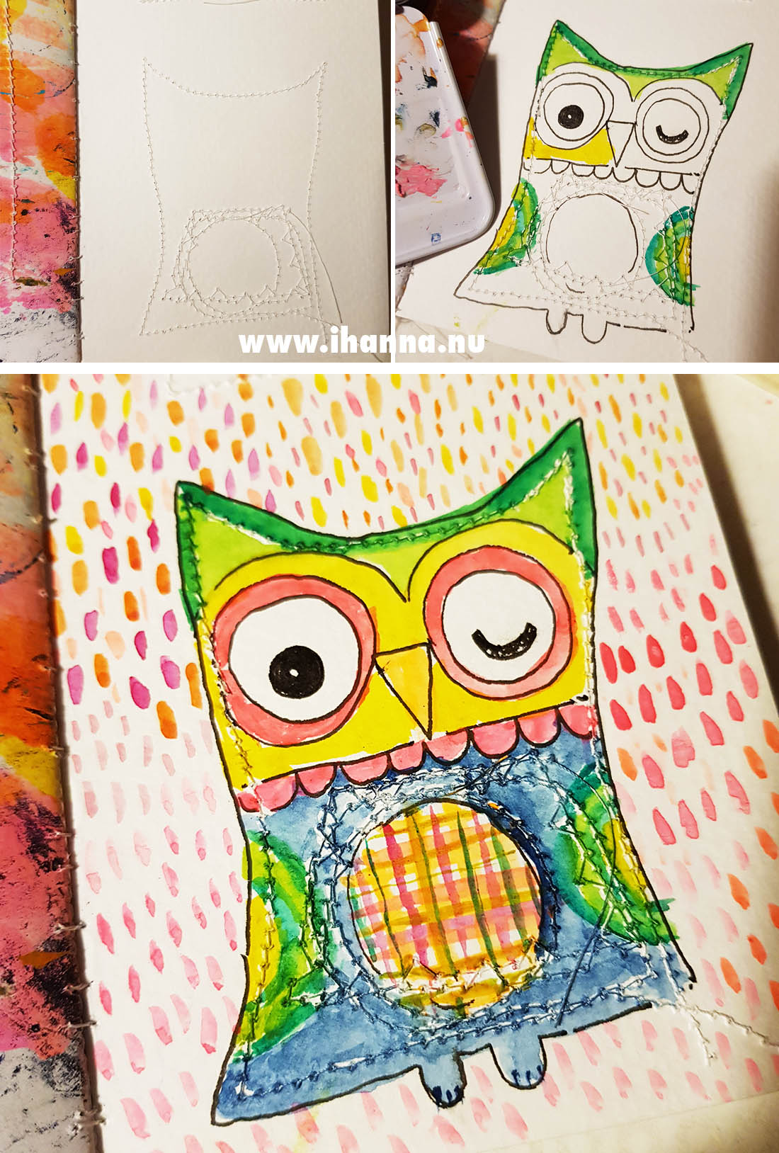 Owl drawing inside the sewn lines on the backside of this page #fillatinyjournal