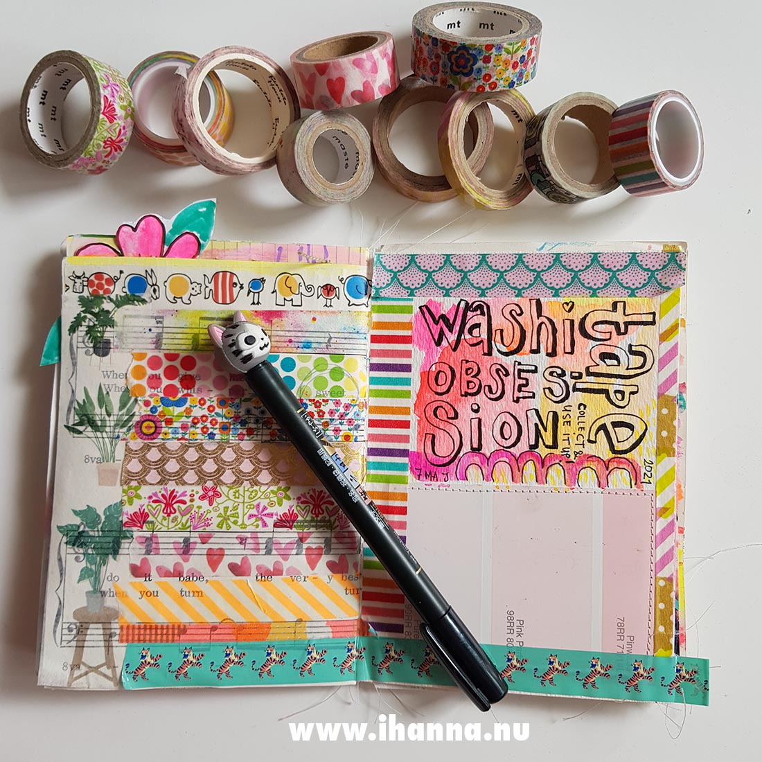 Fill a tiny journal: Washi Tape on an art journal page by iHanna #fillatinyjournal