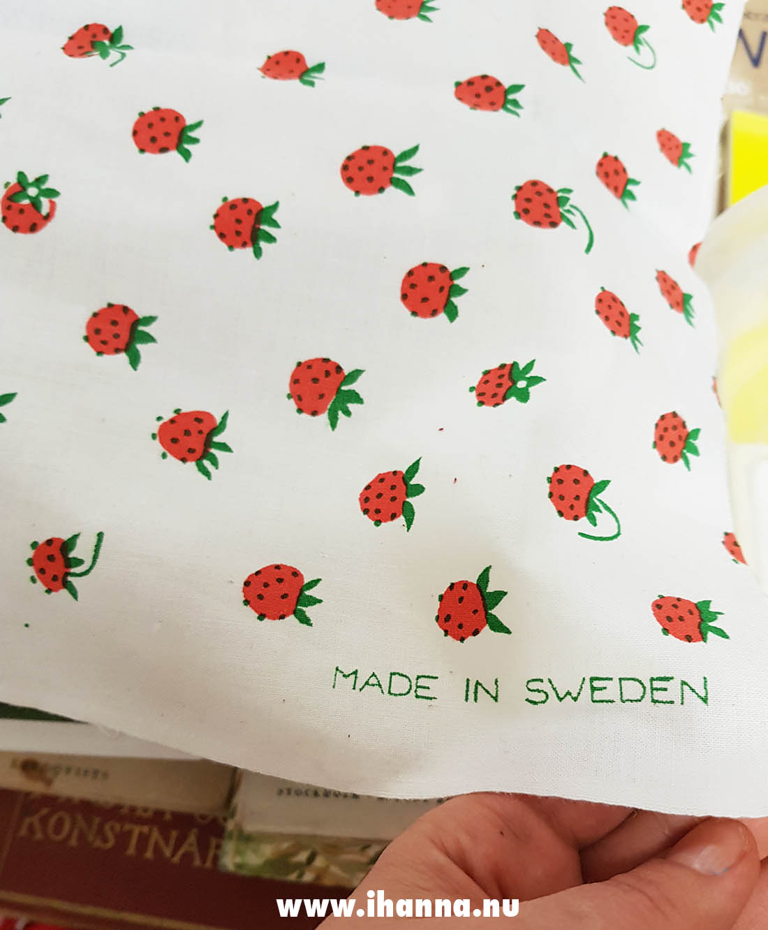 Strawberry fabric printed in Sweden by Jobs, photo by Hanna Andersson #Sweden