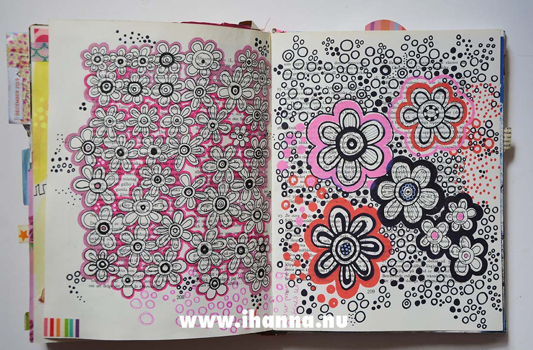 Flower Doodles by iHanna in altered book #artjournal