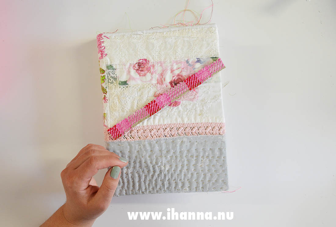 Boro stitched art journal cover by Hanna Andersson bookbinder