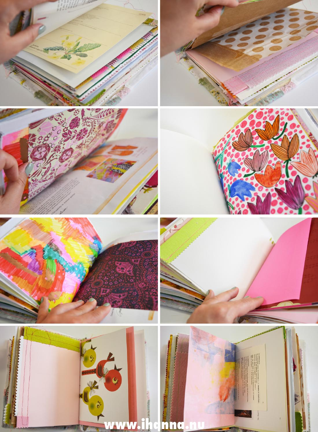 Pages in the Summer Junk Journal that I made for myself | Studio iHanna