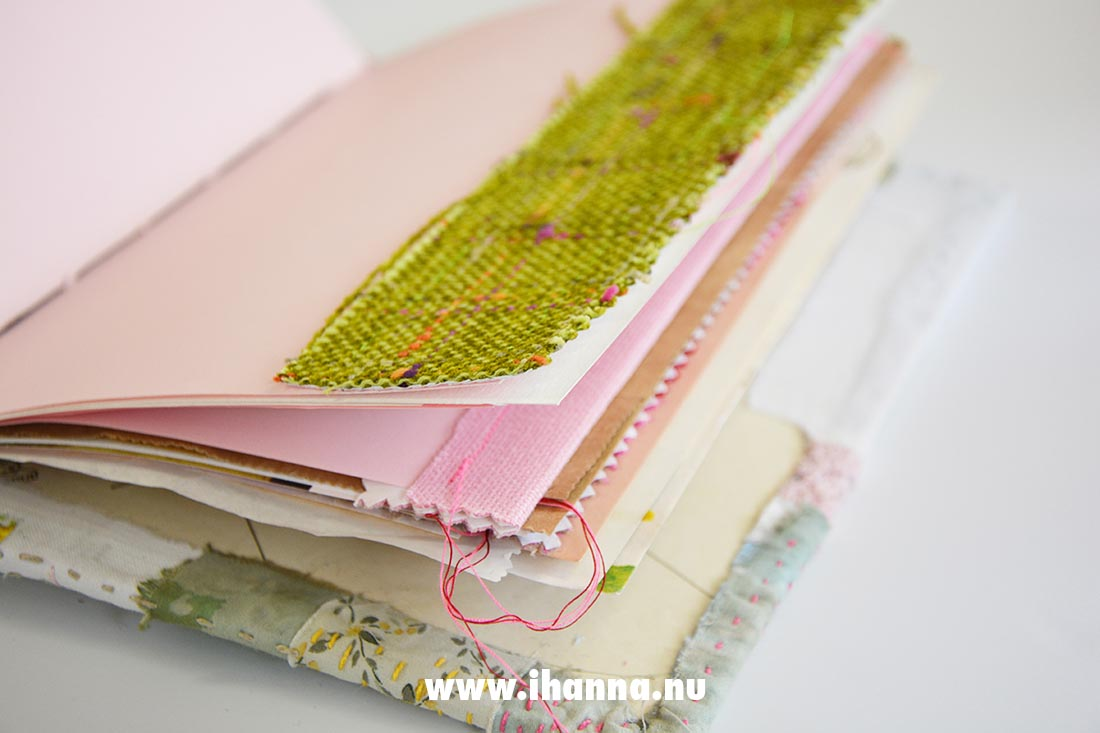 Embroidered cover and Designer Guild fabrics inside to decorate the pages