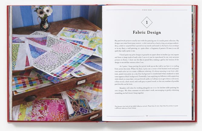 Fabric design - Book spread in Kaffe Fassett in the Studio reviewed by Studio iHanna, Sweden