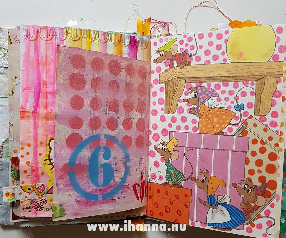 Summer Art Journaling: Cinderella mice in iHannas journal
